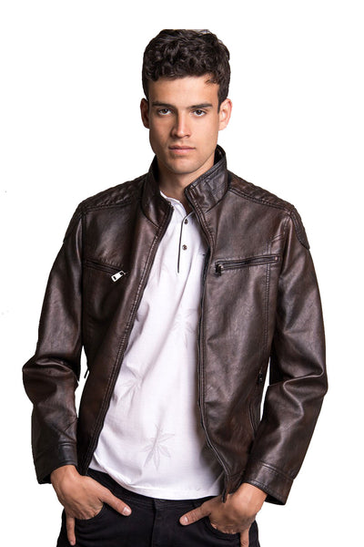 Barabas Men's Faux Leather Motorcycle Brown Jacket BH21