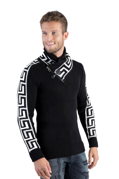 BARABAS Men Sweater Outlined W127-15 Black