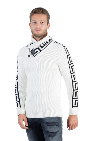 BARABAS Men Sweater Outlined W127-15 White