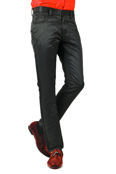 BARABAS Men's Shiny Solid Color Black Chino Pants 2605