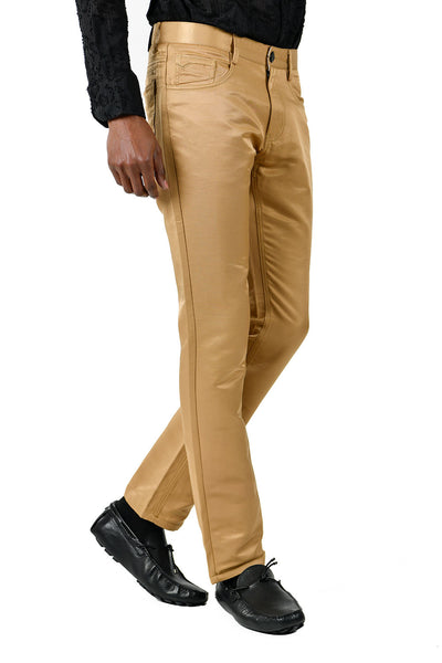 BARABAS Men's Shiny Solid Gold Color Chino Pants 2605
