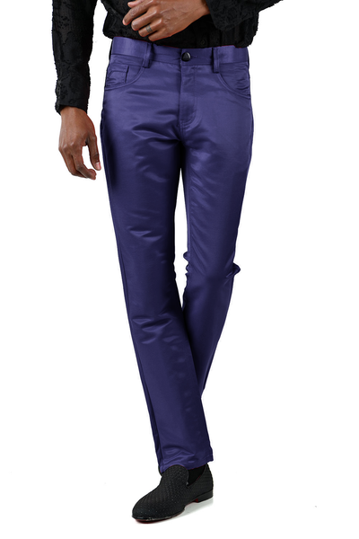 BARABAS Men's Shiny Solid Color Navy Chino Pants 2605