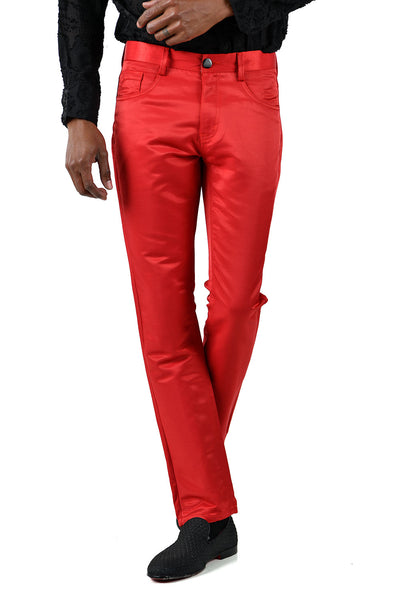 BARABAS Men's Shiny Solid Color Red Chino Pants 2605