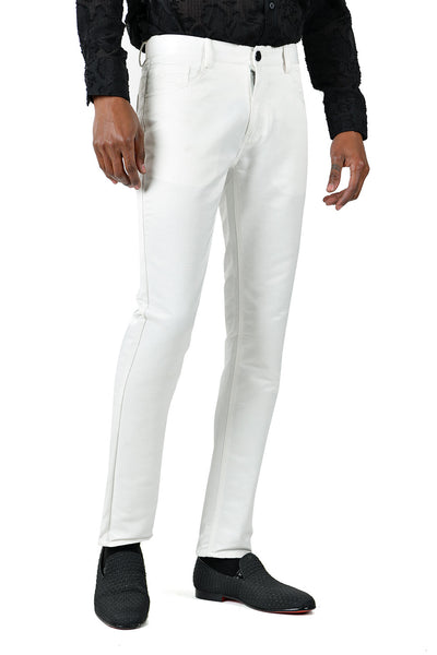 BARABAS Men's Shiny Solid Color White Chino Pants 2605
