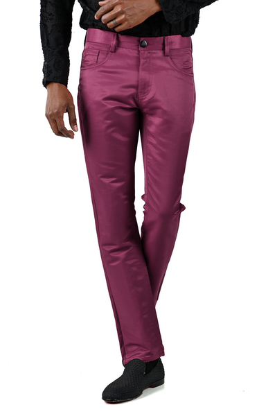 BARABAS Men's Shiny Solid Color Wine Chino Pants 2605