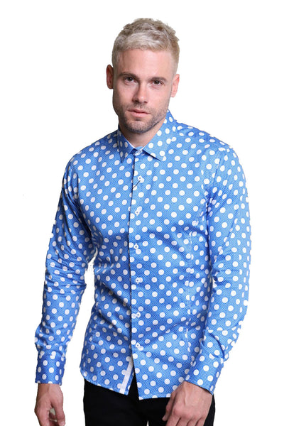 Barabas Men's Polka Dot Print Design Button Down Long Sleeves Shirts 2712