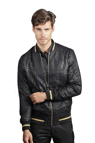 BARABAS Men Bomber Silver Bomber Jacket BJ2184-BLACK-1