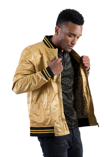 BARABAS Men's Shinny Zipper Bomber Gold Jackets BJ2000