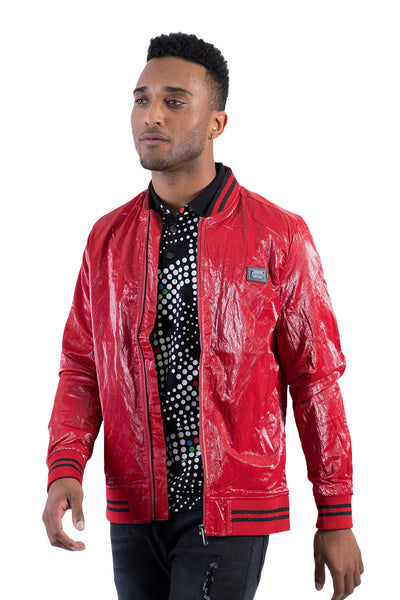 BARABAS Men's Shinny Zipper Bomber Red Jackets BJ2000