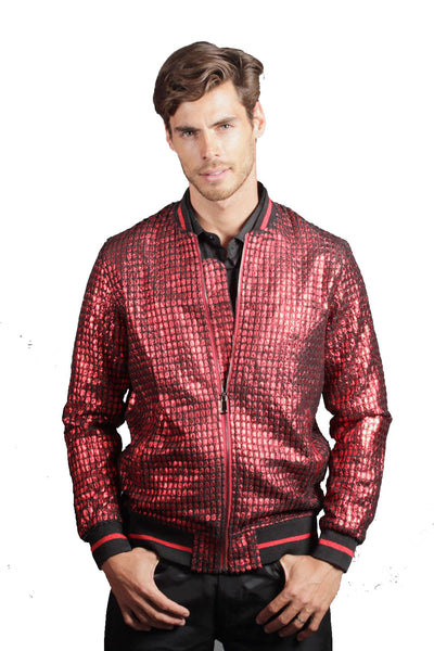 BARABAS Men Bomber Silver Bomber Jacket BJ2184-RED-1