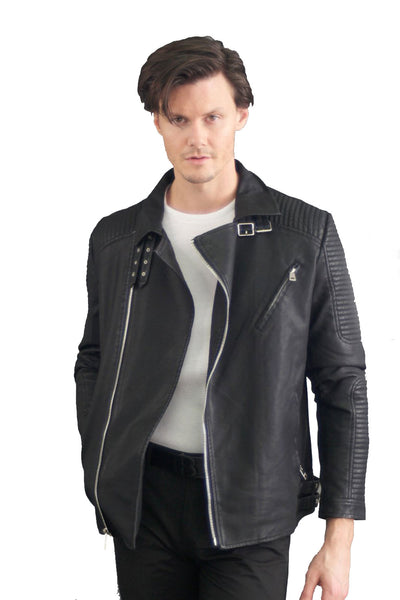 Barabas Men's  Chrome Zip Fastening Closure Liner Leather Jacket GL12