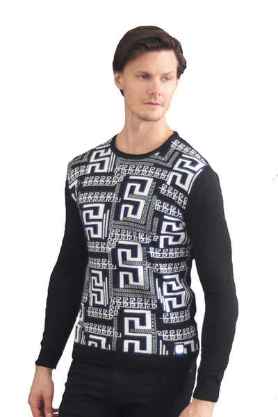 BARABAS Men Sweater Black Ruins LS-1583-BLK-2 Black
