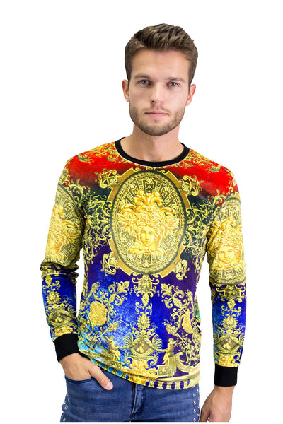 BARABAS Men's Printed Medallion Multi Color Sweater LV109