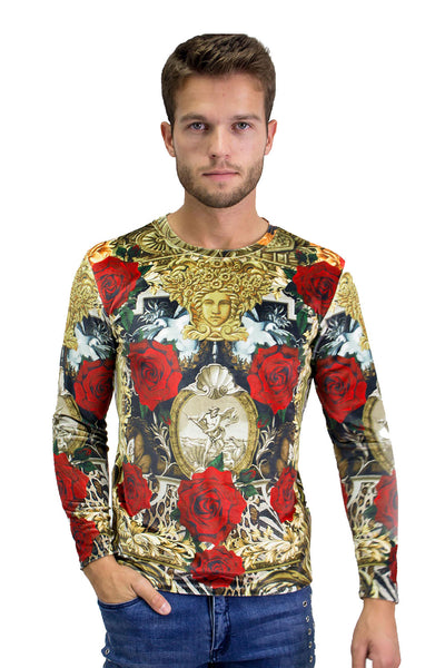 BARABAS Men Sweater Roses in Greece LV125 Multi Color