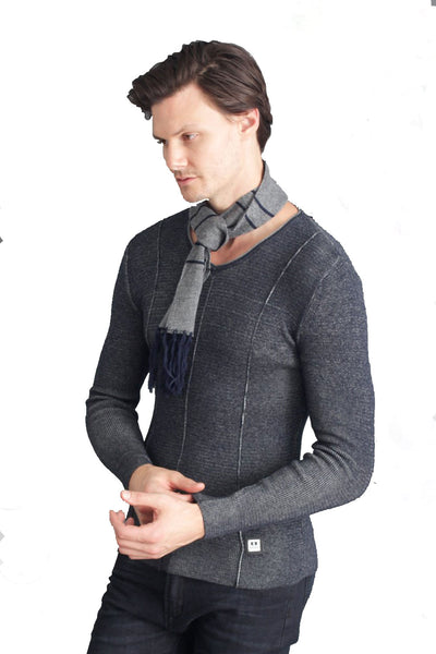 BARABAS Men's V-neck Knitted Navy Sweater with Matched Scarf LS-203