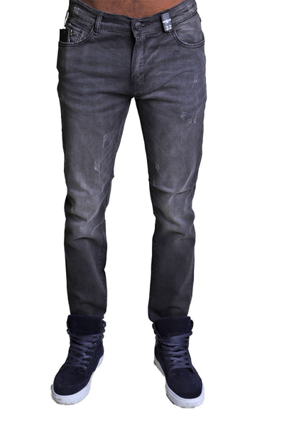 BARABAS men's light wash black grey distressed denim Jeans B041