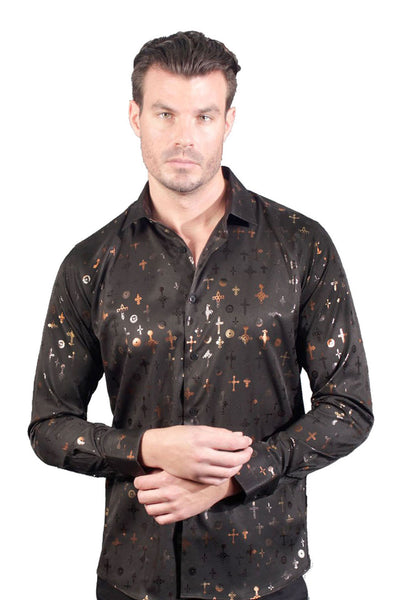 BARABAS Men Printed Shirts First Date B100 Black