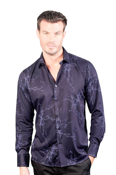 Barabas Men's Abstract Design Printed Navy Button Down Shirts B1945