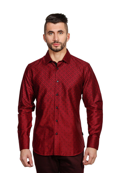 Barabas men's printed diamond graphics burgundy black dress shirts B1947