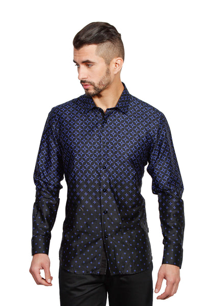 Barabas men's printed diamond graphics navy black dress shirts B1947