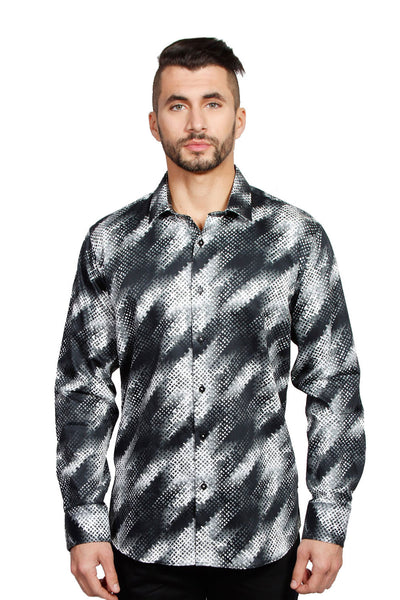 BARABAS Men Printed Shirts Swoosh B1948 Black