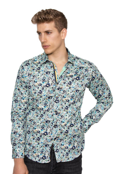 BARABAS Men Printed Shirts Let's Talk B202 Aqua