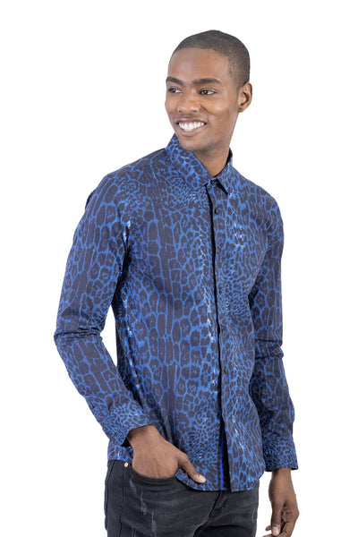 BARABAS Men Shirt Wild at Dawn B246-MULTI-L Blue
