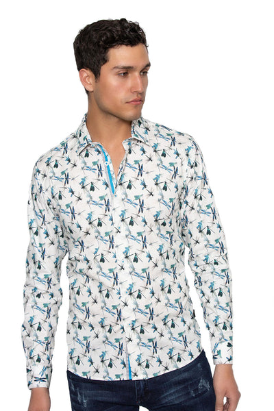 BARABAS men's butterfly printed multi color button down shirts B249