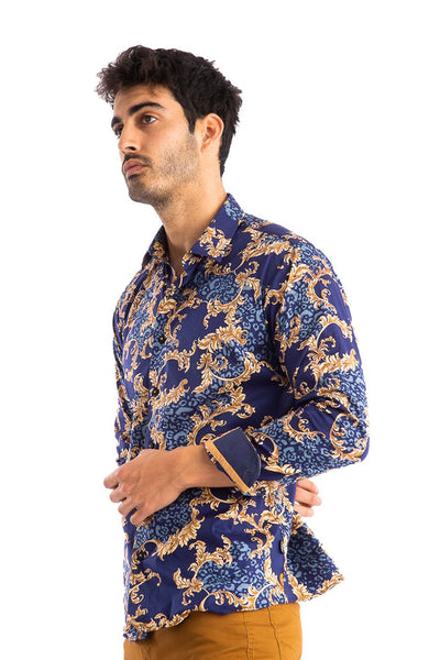 BARABAS Men's Printed Floral Long Sleeve Button Down Shirts  B290