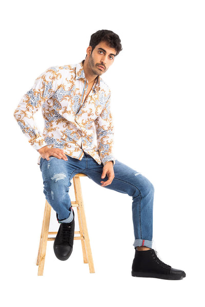 BARABAS Men's Printed Floral Long Sleeve Button Down Shirts  B290  wHITE