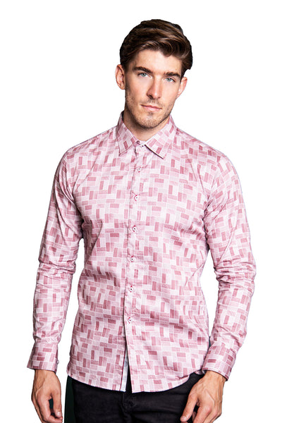 Barabas men's checkered printed wine button down dress shirts B2905