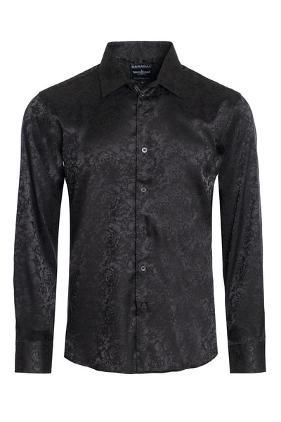 BARABAS Men textured floral button down dress shirts B309