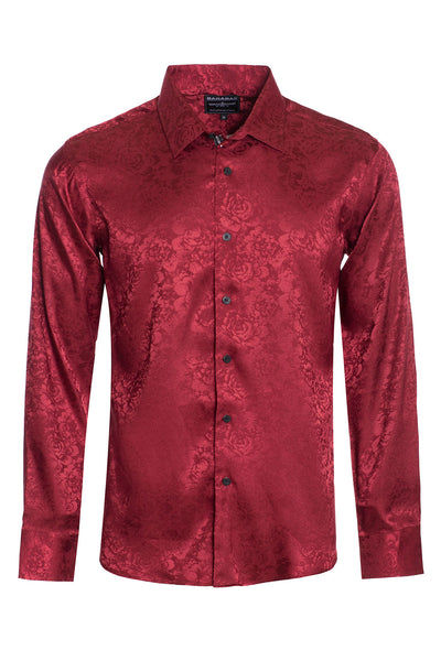 BARABAS Men textured floral button down Burgundy shirts B309