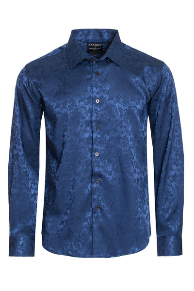 BARABAS Men textured floral button down Navy shirts B309