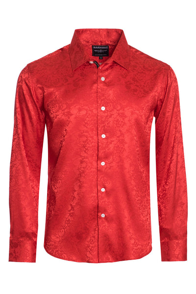 BARABAS Men textured floral button down Red shirts B309