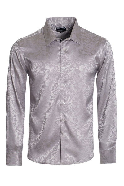 BARABAS Men textured floral button down Silver shirts B309