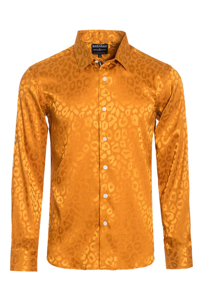 BARABAS Men textured leopard design pattern button down Shirts B310