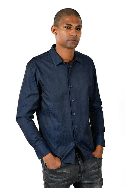 Barabas Men's Solid Color Button Down Designer NAVY Long Sleeves Shirt B41