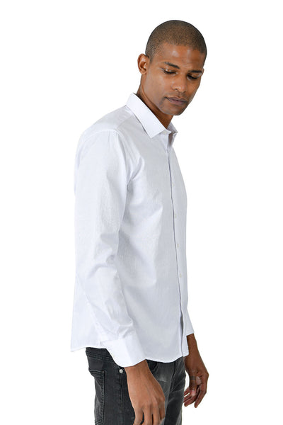 Barabas Men's Solid Color Button Down Designer White Long Sleeves Shirt B41