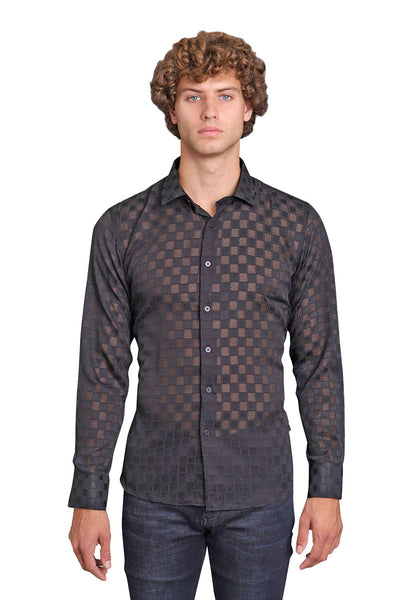 BARABAS Men Printed Shirts Four B47-S-BLK Black