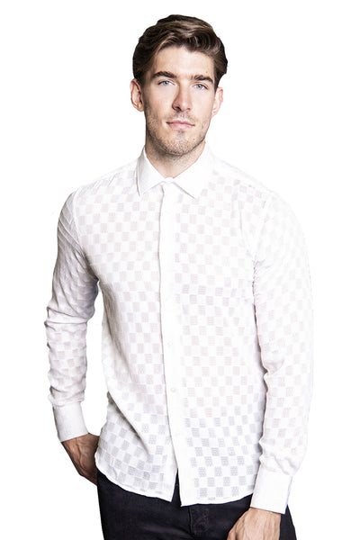 BARABAS Men Printed Shirts Four B47-S-BLK White