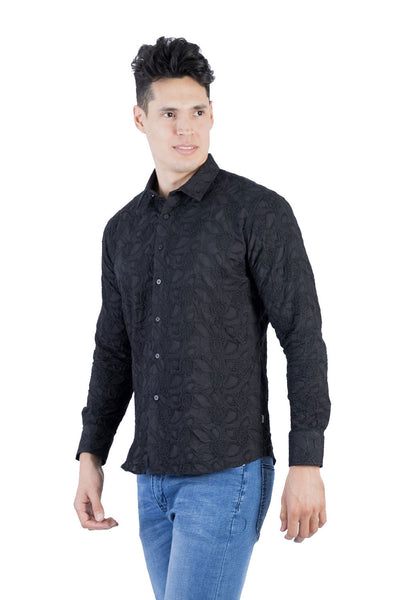 BARABAS Men's Paisley Floral Black Button Down Shirts B50