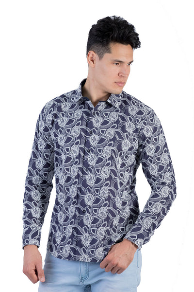 BARABAS Men's Paisley Floral White Navy Button Down Shirts B50