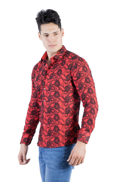 BARABAS Men's Paisley Floral Red Black Button Down Shirts B50