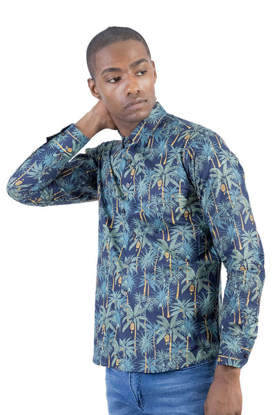 BARABAS Men's palm design printed long sleeve navy Shirt B54
