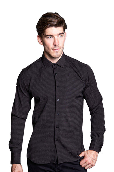 BARABAS Men Printed Shirts Represent- Black B63 Black