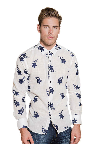 BARABAS Men's Floral White Button Down Shirt B8505