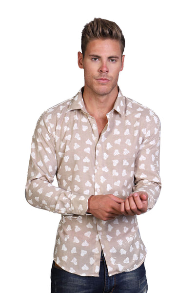 BARABAS Men Shirt Heartbreaker- Taupe B8509-W-S White