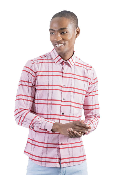 BARABAS Men's Striped Checkered Long Sleeve Shirt B8523 Pink