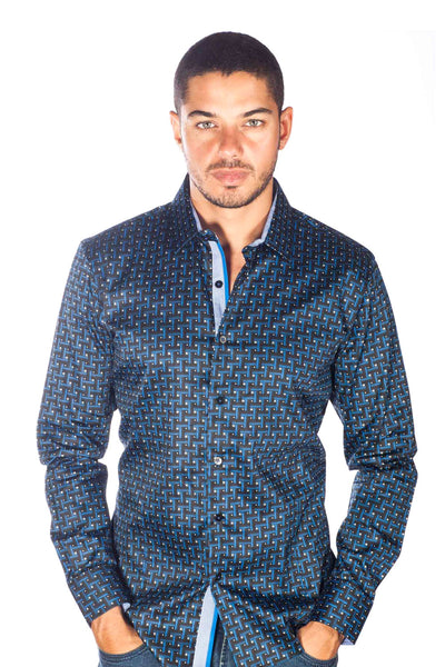 Barabas Men's Geo Printed Design Long Sleeves Blue Shirt B9016
